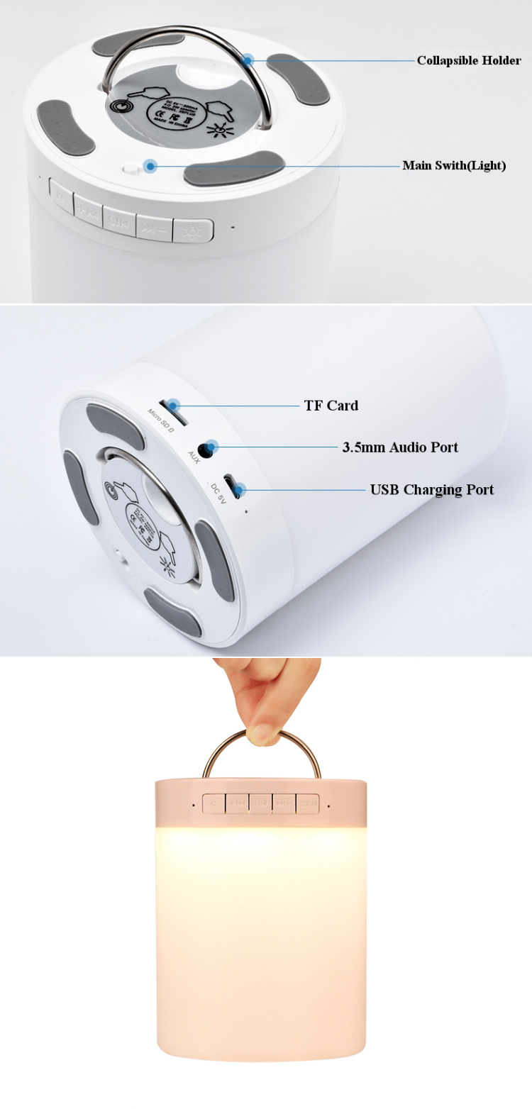 LV2016 Multifunctional Intelligent LED Lamp Portable Tf Card AUX Hands Free Call bluetooth Speaker