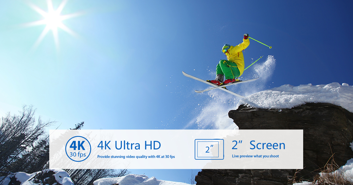 EKEN H8s 4K 30FPS FHD Ambarella A12S75 Wide Angle 170 WiFi Control Dual Color Screen