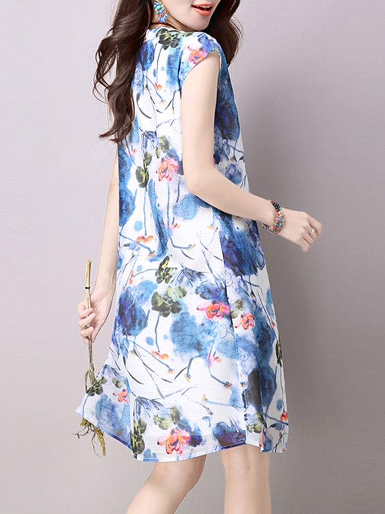 Vintage Sleeveless Ink Print Loose O-neck Fake Two Pieces Women Dresses