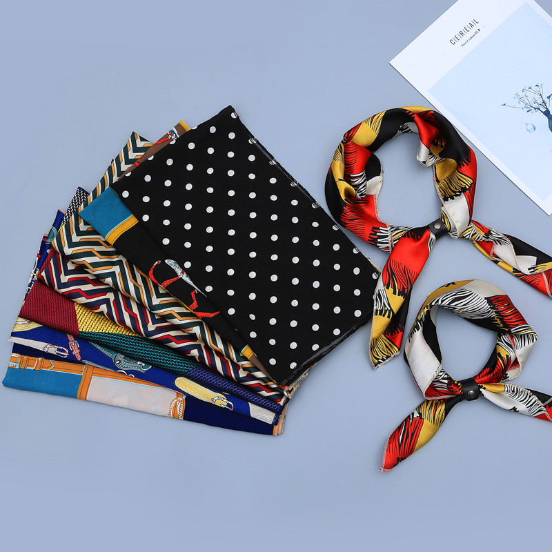 Fashion Girls Small Square Scarf Printed Foulard Neckerchief Bandana Scarves Vintage Style Scarf