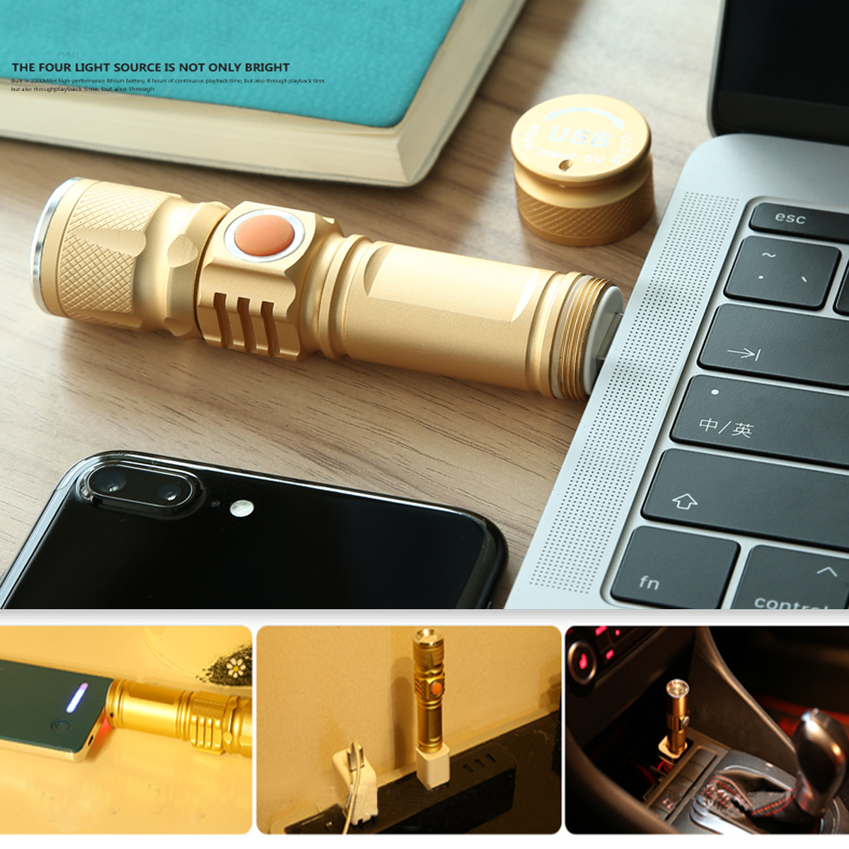 T6 USB Rechargeable LED Flashlight 10X Telescopic zoom Power Work Spot Light Lamp