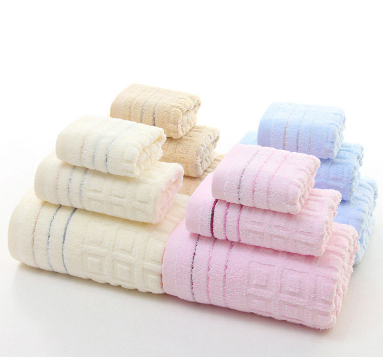 3pcs Pure Cotton Twist-less Bath Face Towels Home Hotel Spa Salon Soft Jacquard Weave Towel Set