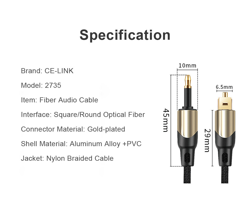 CE-LINK 5M SPDIF Toslink Male to Round 3.5mm Optic Male Digital Optical Fiber Audio Cable for PS3/4