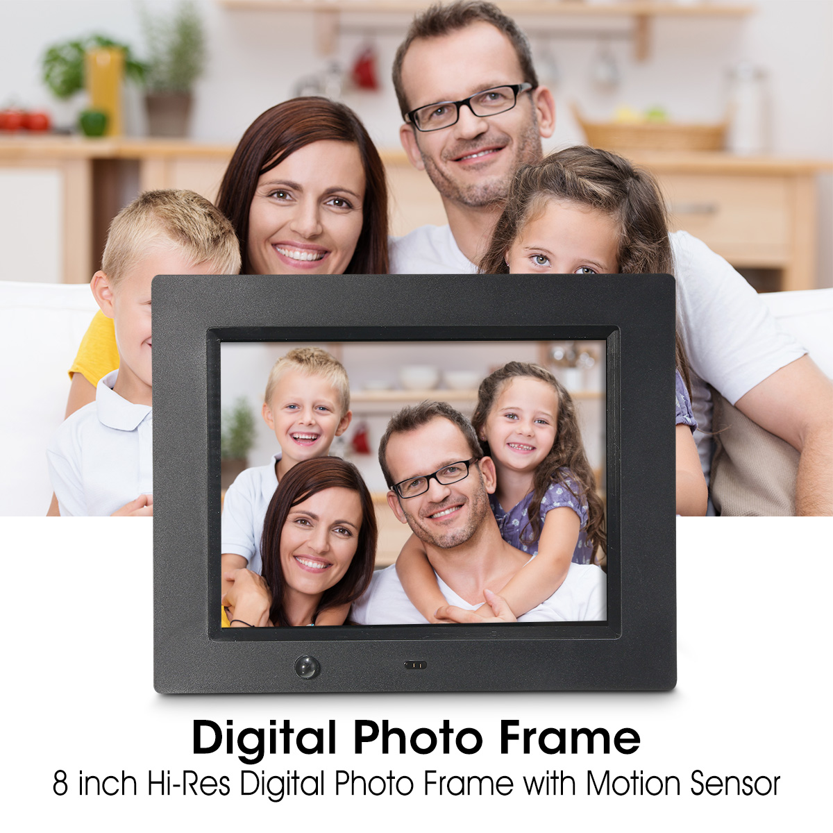 8 Inch Ultra Thin Digital Picture Photo Frame with Motion Sensor Wireless Mouse