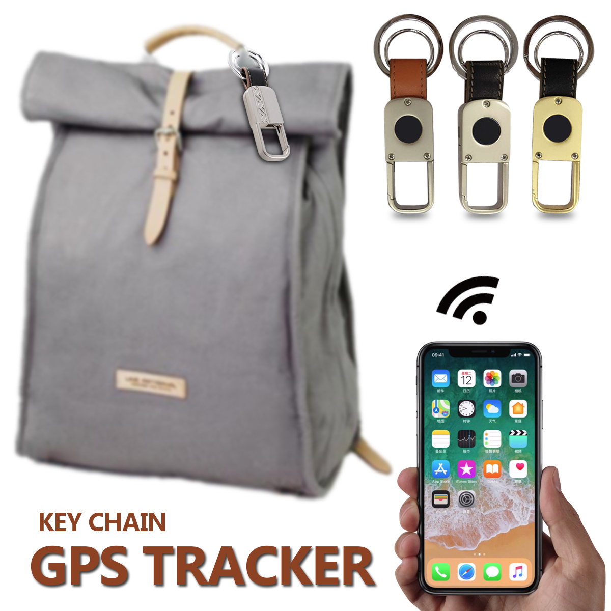 GPS Tracking Key Chain Ring Wireless bluetooth Anti-Lost Tracker Finder Alarm Device