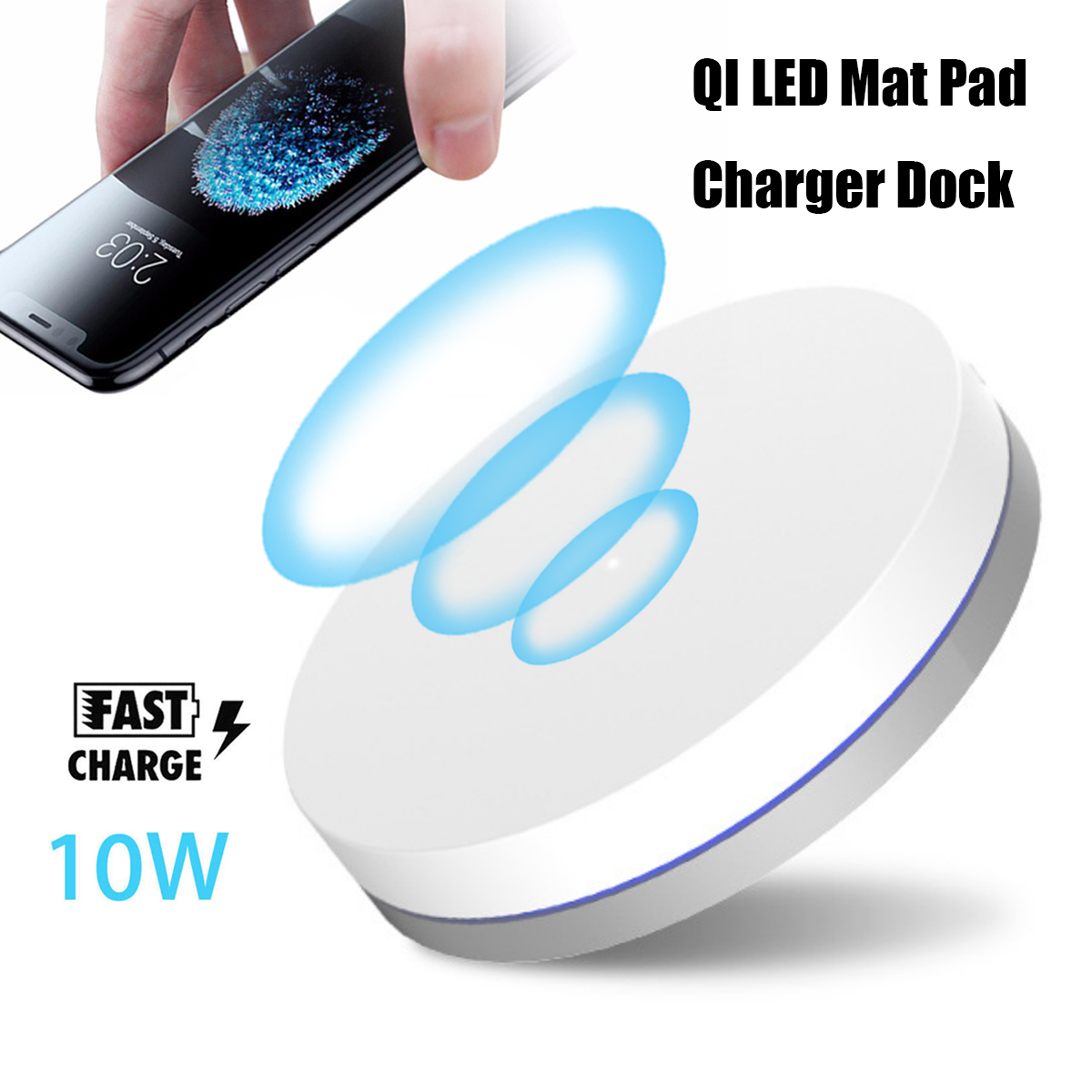 10W Fast Qi Wireless Charging Dock Charger Pad Mat Aluminum With LED Light For iphone X 8/8Plus Sams