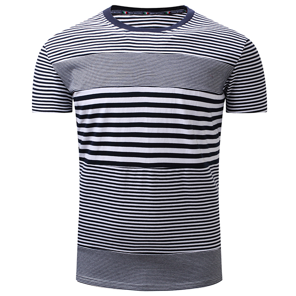 Summer Men's Cotton Bump Stitching Color T-shirts Leisure Stripes Short Sleeved T-shirt