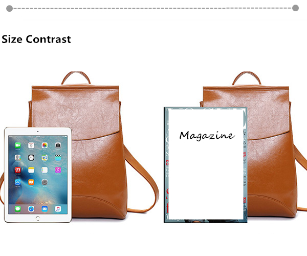 Women Oil PU Leather Simple Big Capacity Simple Backpack Shoulders Bag