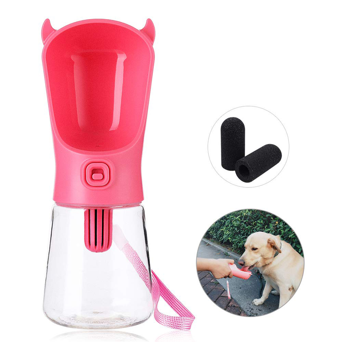 350ml Portable Pet Dog Filtration Water Bottle Indoor Outdoor Car-Ride Travel Use Leak-Proof Drink Cup