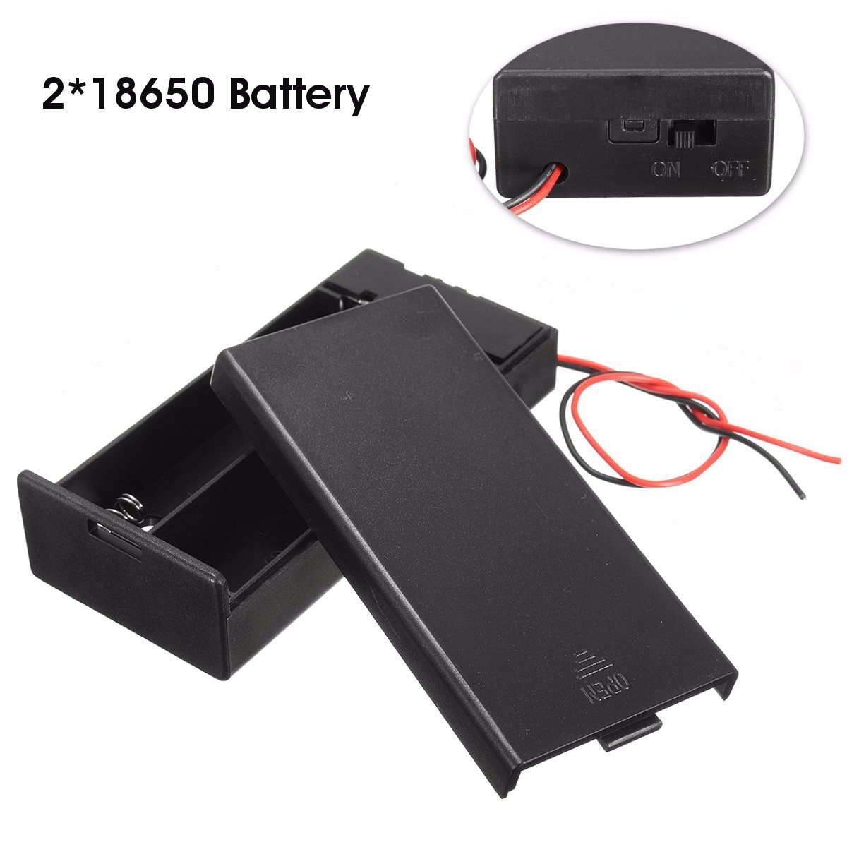 Plastic Battery Holder Storage Box Case Container w/ ON/OFF Switch For 2x18650 Batteries 3.7V