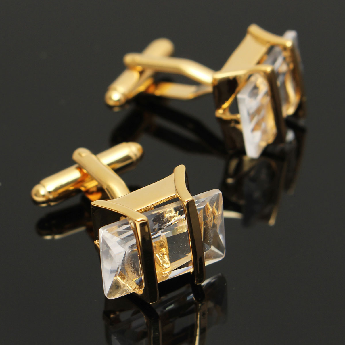 Men Male Gold White Crystal Rectangle Cuff Links Wedding Party Gift Shirt Suit Accessories