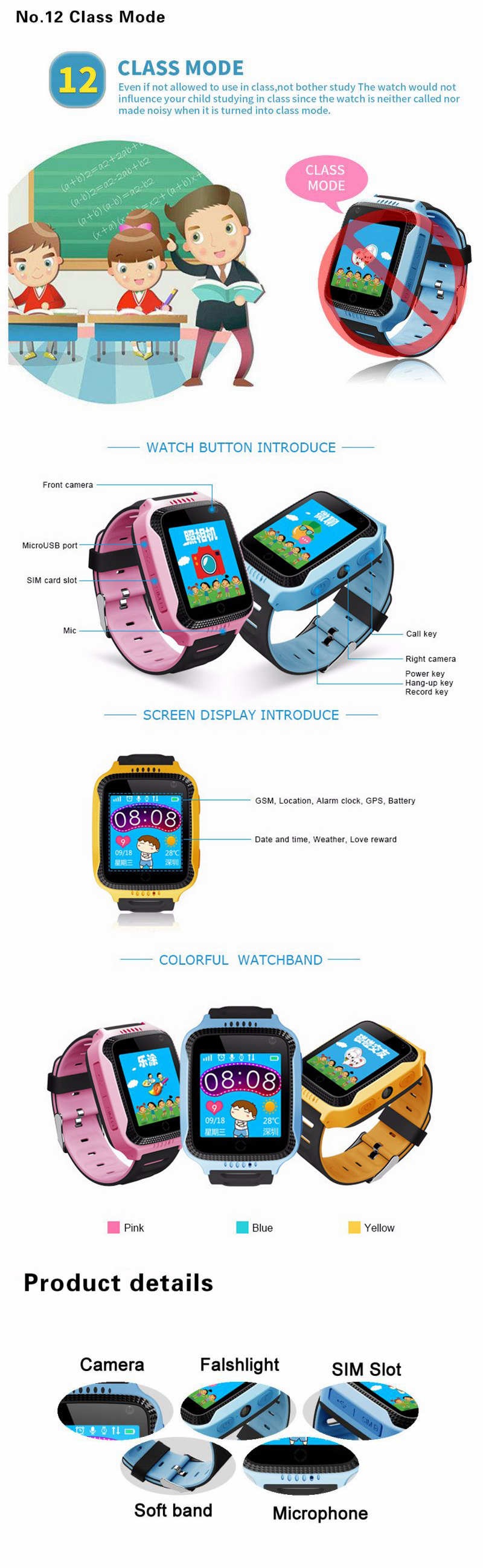 Bakeey 1.44inch Touch Screen SOS GPS LBS LocationTracker Flashlight Pedometer Children Smart Watch