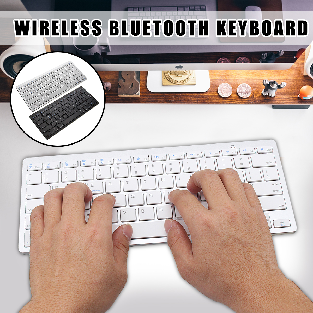 Wirelss bluetooth 3.0 Keyboard For iPhone iPad Macbook Samsung Tablet PC iOS Android Devices