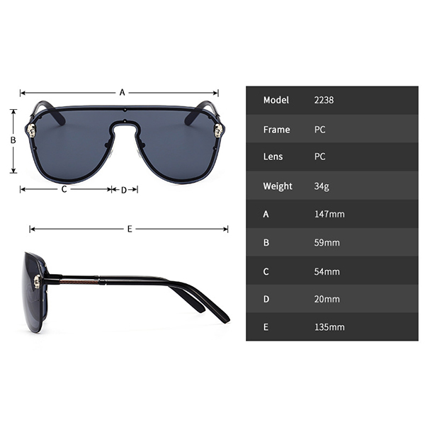 UV400 Mirrored Flat Lenses Metal Frame Sunglasses