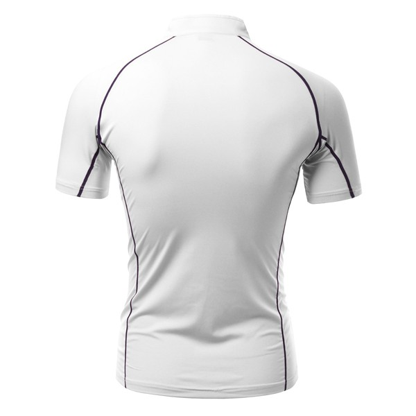 Mens Elastic Stand Collar Quick Dry Short Sleeved Sports Tshirts Cycling T Shirts