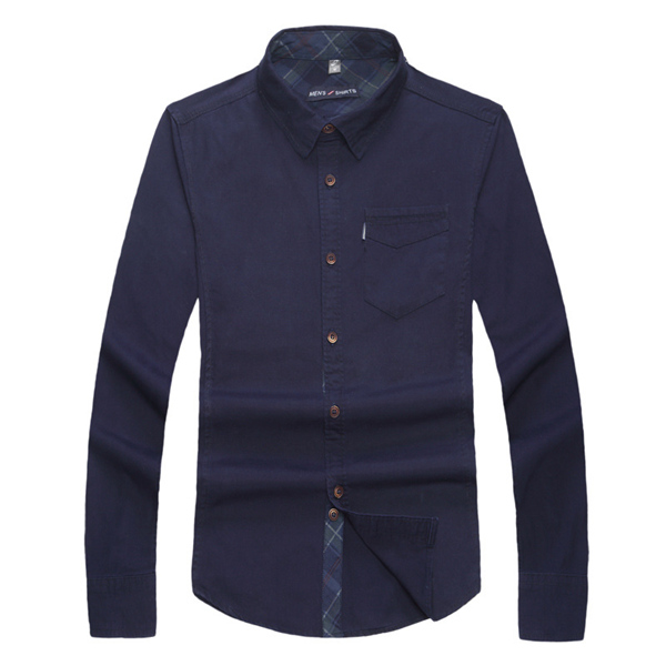 Military Business Slim Fit Spring Autumn Long-sleeved Solid Color Cotton Stylish Men Shirts