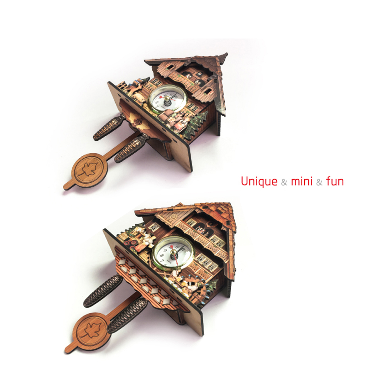 Cuckoo Clock Mount Wooden Wall Clock Analog Auto Swinging Pendulum Home Decorations