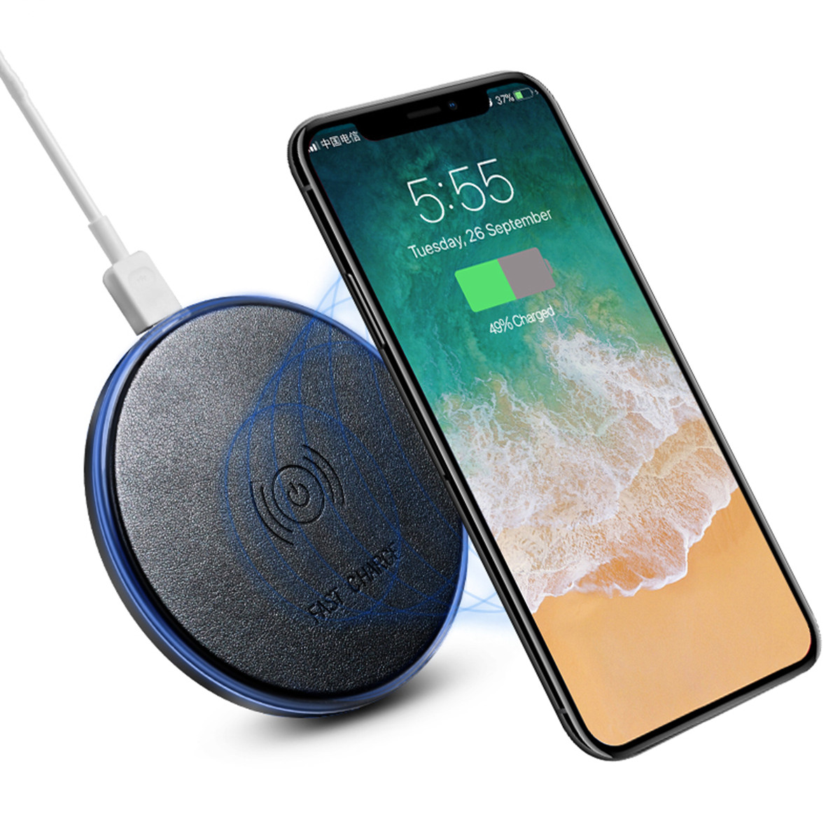 D6 2A Qi Wireless Fast Charger Charging Pad Mat Dock For iPhone X/8/Plus Samsung S8