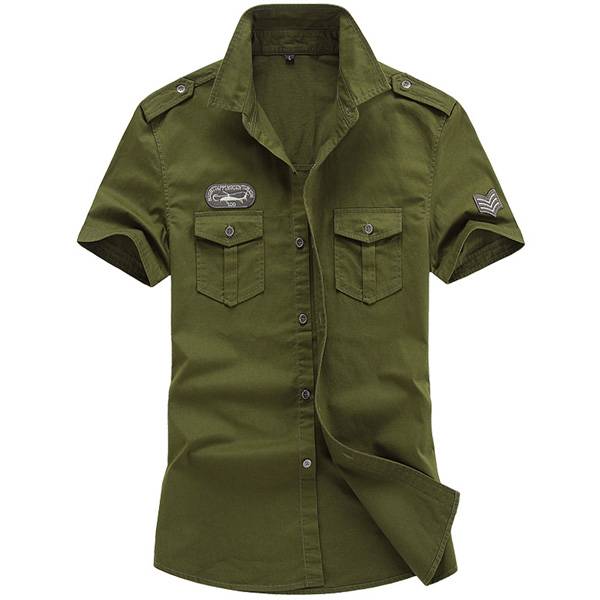 Mens Cotton Military Epaulet Summer Outdoor Cargo Work Shirt