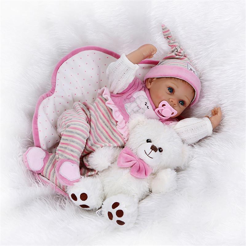 """Icradle Girl Кукла Reborn 22 """"Full Силиконовый Виниловые детские игрушки для детей Игрушки для подарков"""