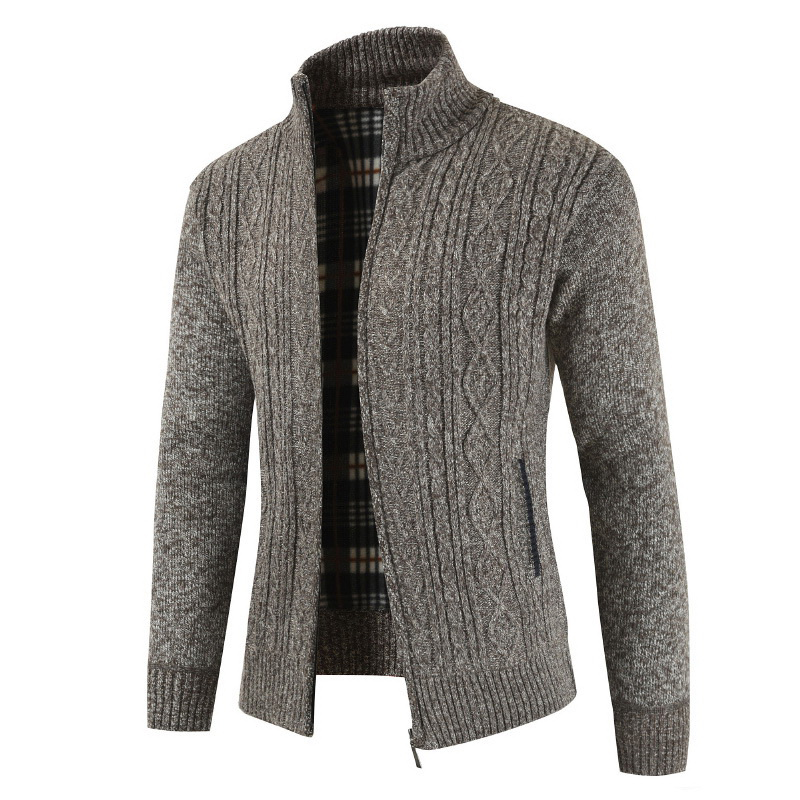 Mens Casual Thick Knit Breathable Stand Collar Warm Cardigan