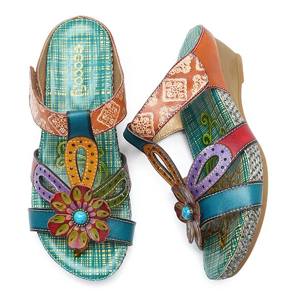 SOCOFY Leather Handmade Flower Folkways Sandals