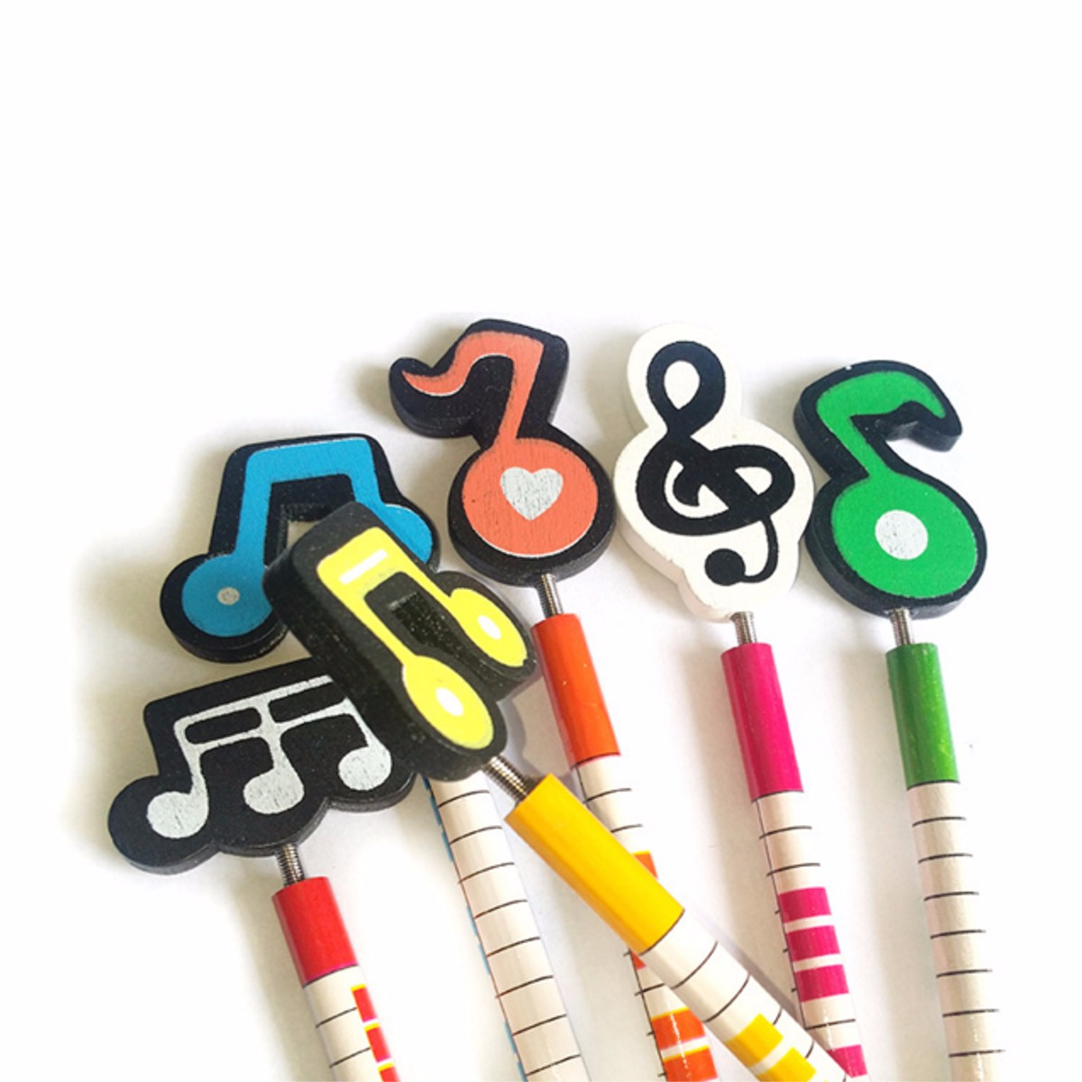 12 Pcs Wooden Musical Note Cartoon Pencils Stationery Gifts for Children
