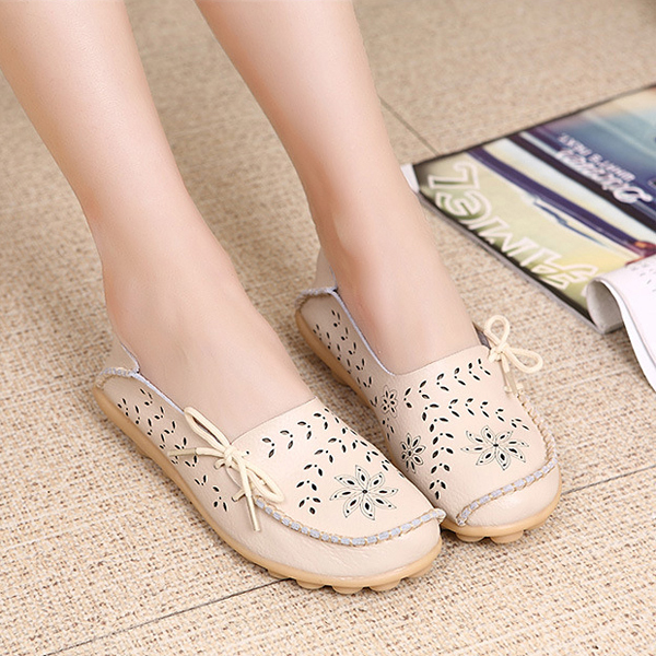 SOCOFY Big Size Women Casual Lace Up Loafers Breathable Floral Hollow Out Comfy Shoes