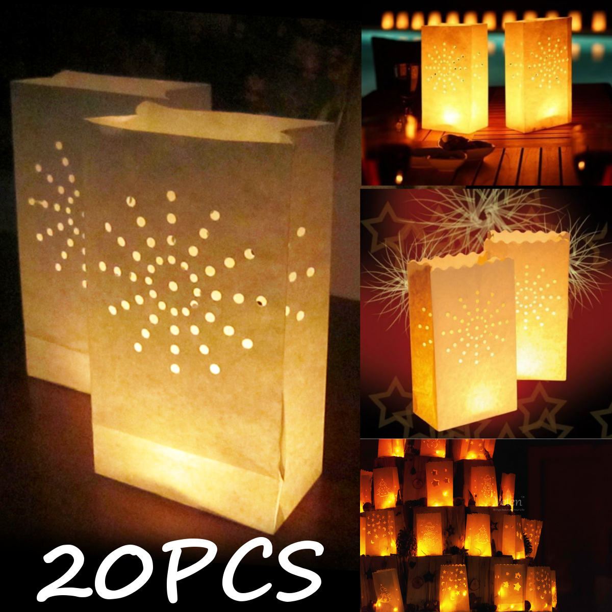 20Pcs White Night Paper Tealight Candle Bag Lantern Holder Party Wedding Decorations