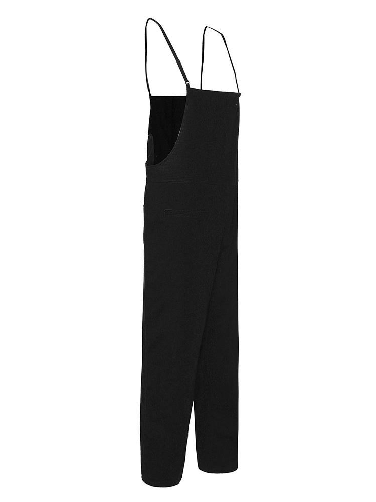Casual Women Loose Pure Color Suspender Trousers