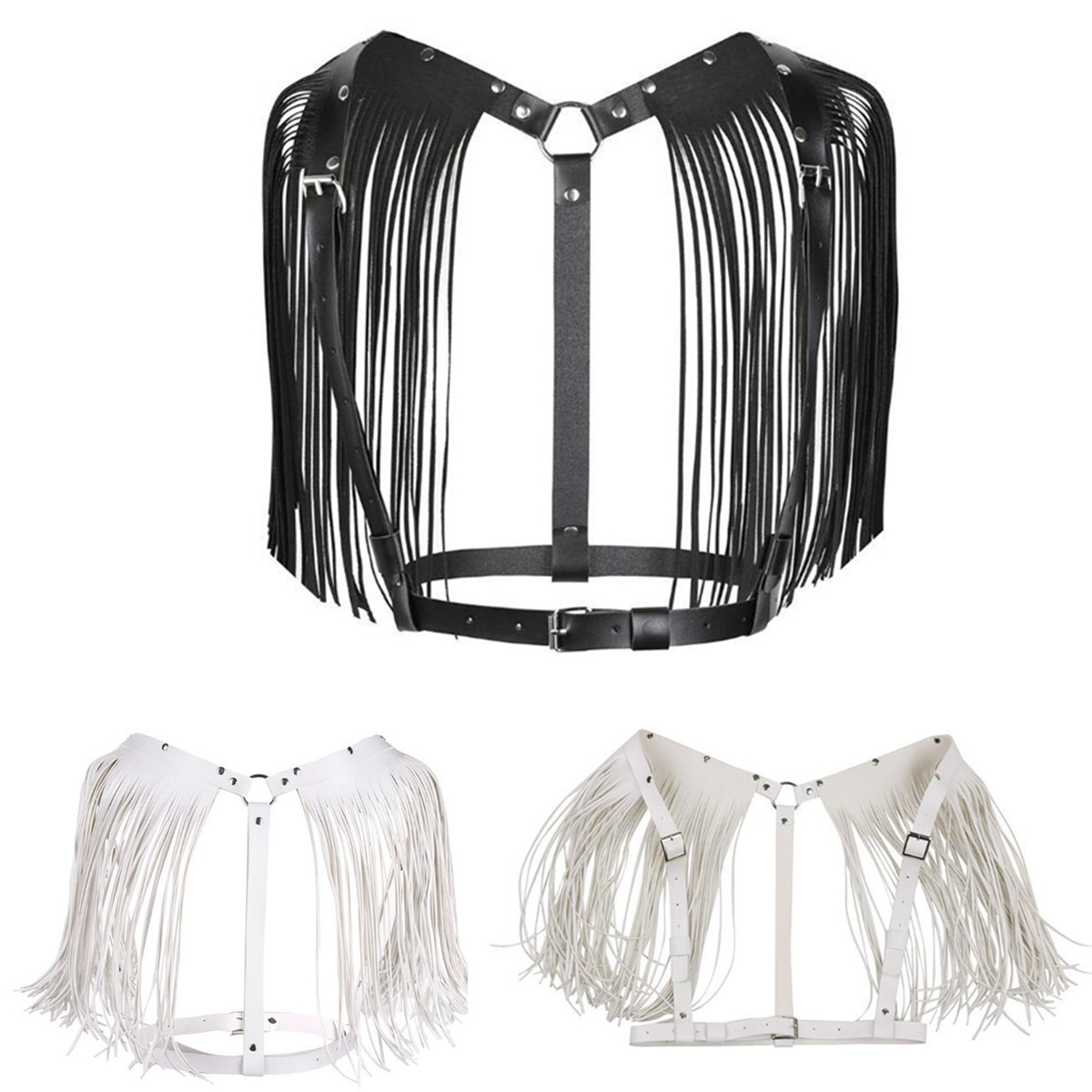 Sexy Women's Leather Punk Body Bra Chest Harness Fringe Skirt Tassel Belt Strap