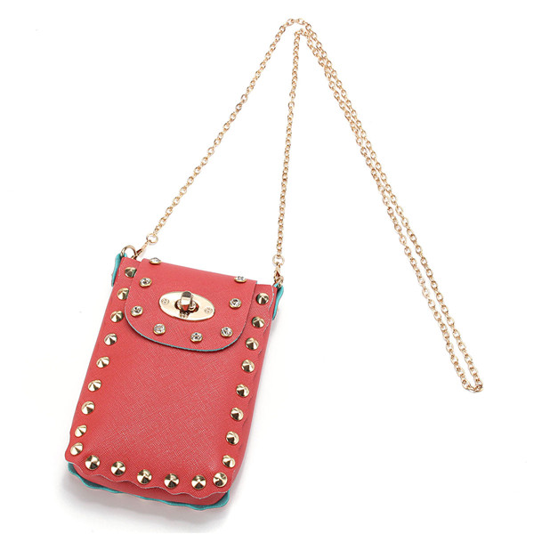 Women Chain Rivet Shoulder Bags Lock 6.5 Inch Phone Bags Case Crossbody Bags