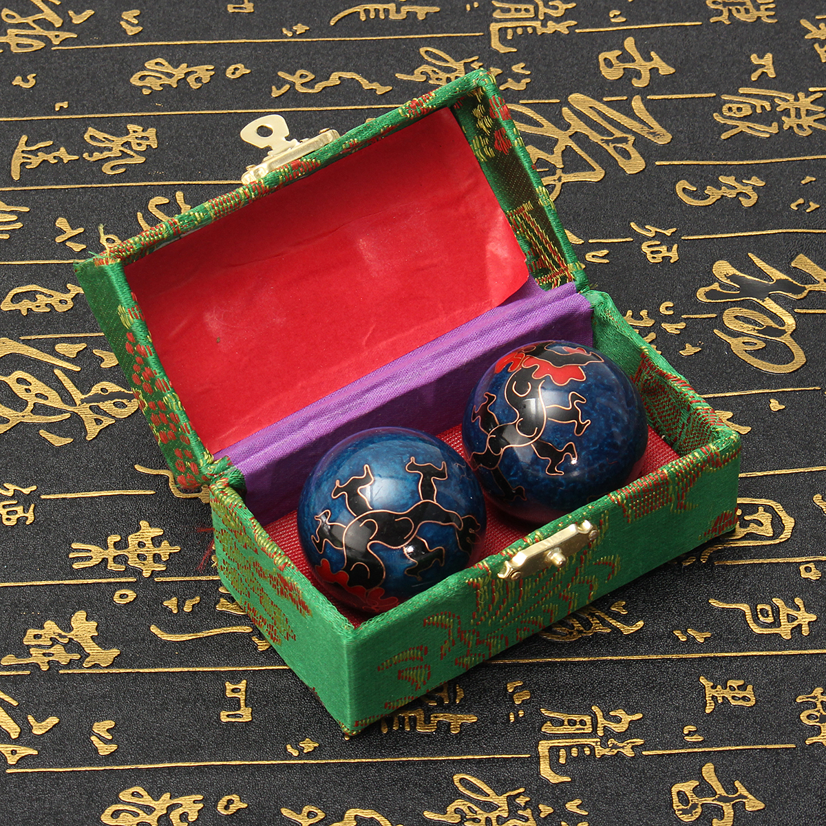 2pcs 42mm Chinese Health Dragon Exercise Stress Relaxation Therapy Massage Baoding Ball