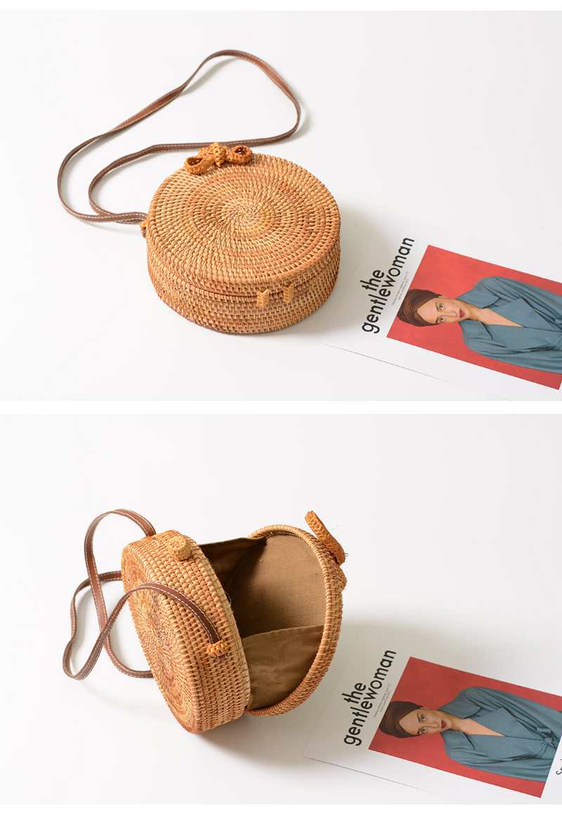 Round Rattan Beach Bag Casual Crossbody Shoulder Bag