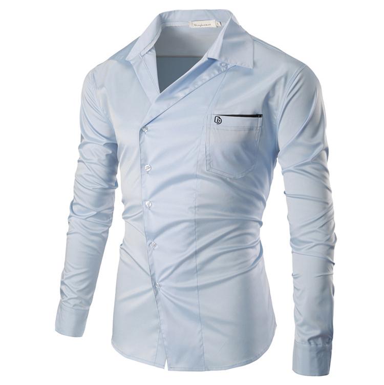 Mens Fashion Personality Oblique Placket Design Pure Color Long Sleeve Dress Shirts