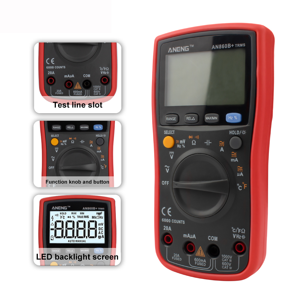 ANENG AN860B+ LCD 6000 Counts Digital Multimeter Backlight AC/DC Current Voltage Resistance Frequency Temperature Tester