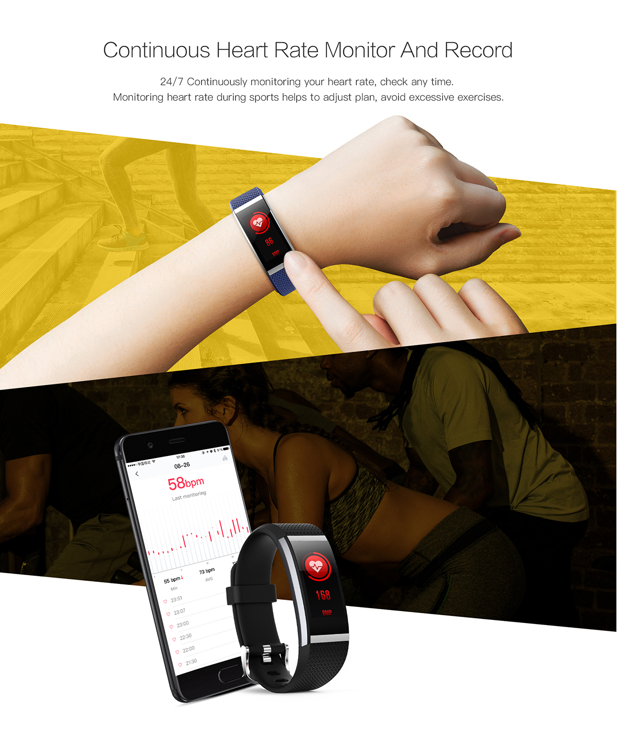 KALOAD FIT HR2 IPS HD Color Screen Smart Bracelet Dynamic Heart Rate Waterproof Sports Wristband