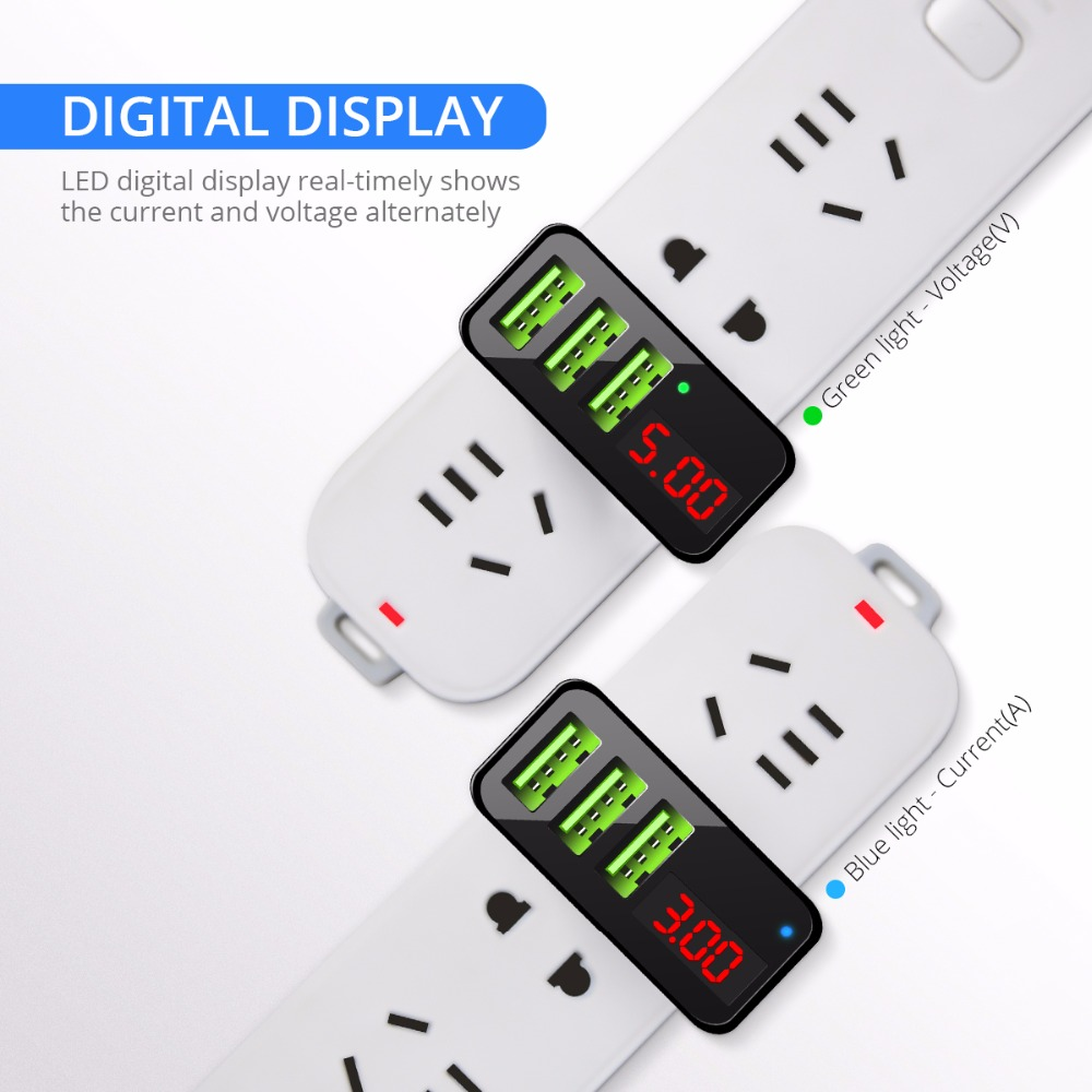 FONKEN 3A 3 Ports LED Display Fast Charging USB Charger For Power Bank iPhone X XS HUAWEI P20 XIAOMI MI9 S10 S10+