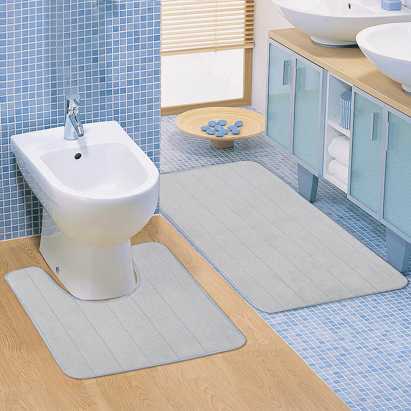2pcs Super Absorbent Memory Foam Coral Velvet Toilet Mat Set Bathroom Rug Floor Feet Cushion