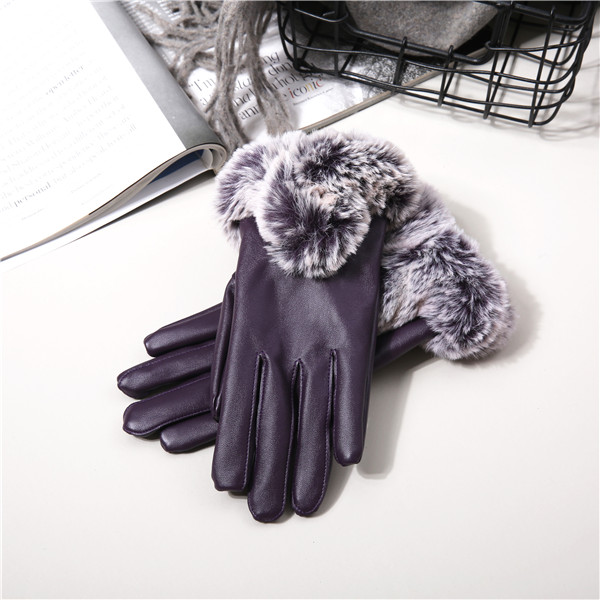 Women Cold Winter Warm Thick Rabbit Fur Leather Ski Gloves