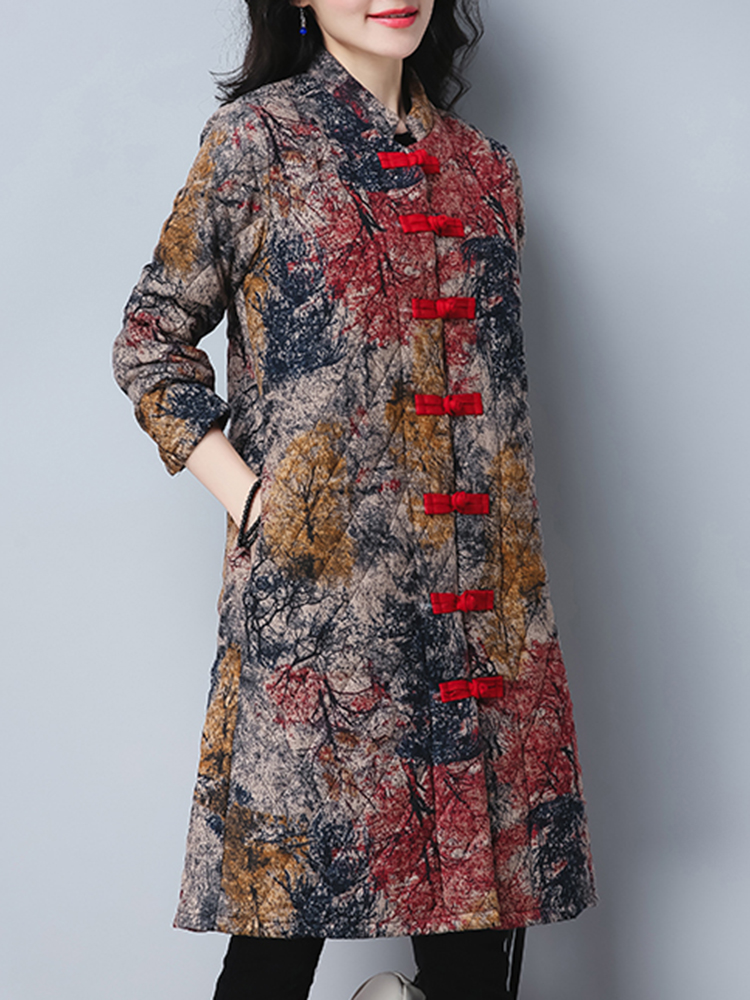 Vintage Women Printed Long Sleeve Stand Collar Winter Coat