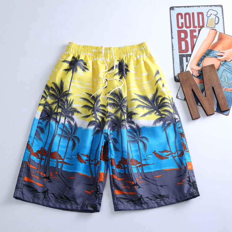 S-5292Men Shorts Summer Beach Pants Coconut Trees Leisure Trousers Quick-drying Surfing Board Shorts