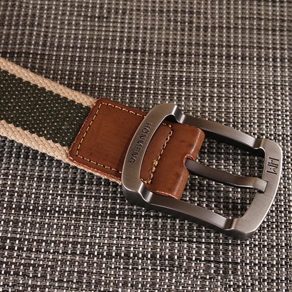 Men's Buckle Canvas Woven Belt Sport Jeans Waistband