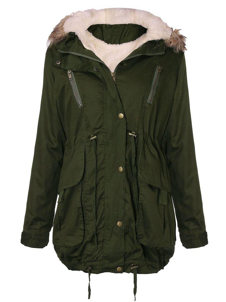 6009b45c9840 Women Thick Fleece Warm Faux Fur Coat Zip Hooded Parka Jackets - US ...