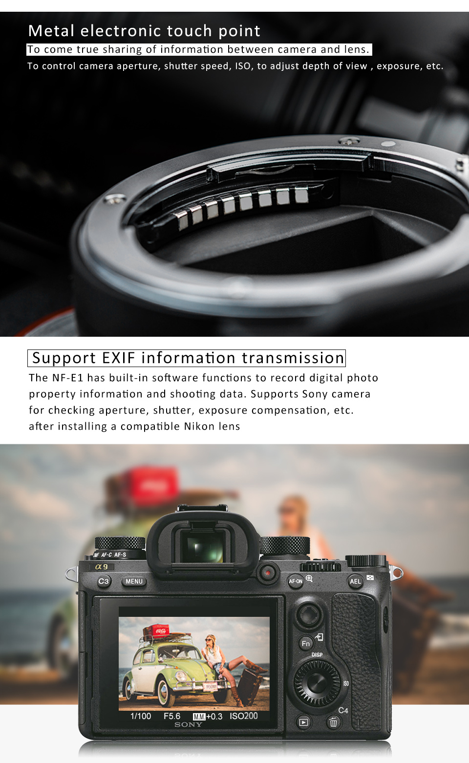 Viltrox NF-E1 Auto Focus Lens Mount Adapter For Nikon F lens to Sony E mount DSLR Camera