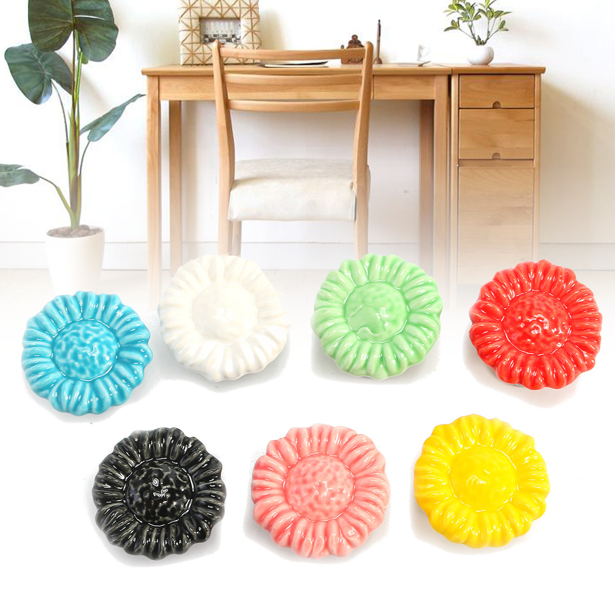 Flower Ceramic Furniture Knobs Drawer Cabinet Cupboard Pulls Handle for Kids Bedroom