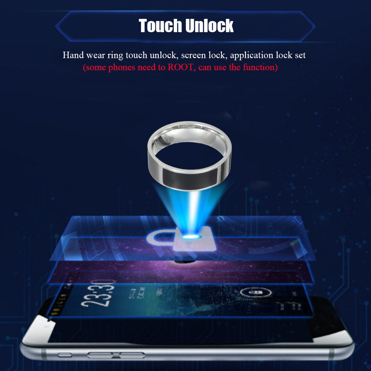 7/8/9/11/13 NFC Tag Smart Magic Ring Wearable for Samsung Android Phones Silver