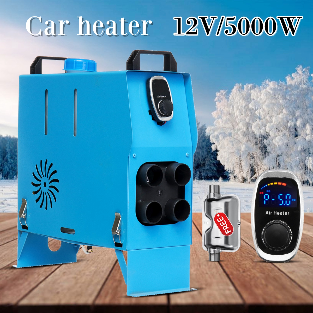 HCalory Integrated 12V 5000W/3000W Upgraded Diesel Heater Parking Heater Air Outlet Warming Equipment