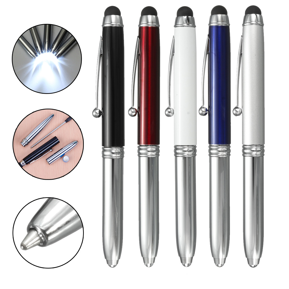 Portable 3 In 1 Touch Screen Stylus Ballpoint LED Light Pen For iPad iPhone