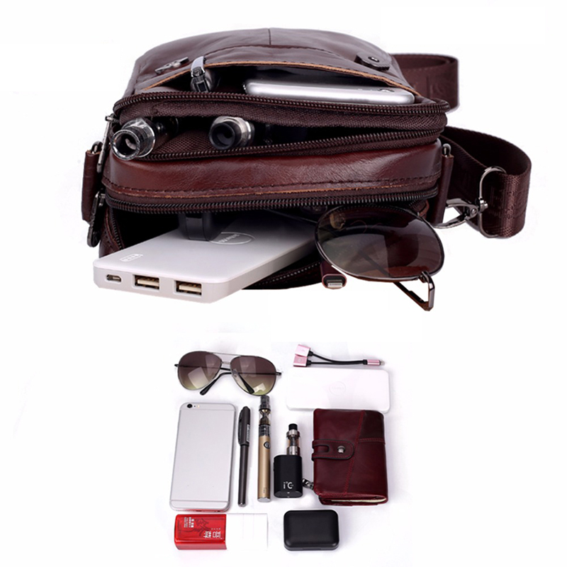 Men Travel Bags Genuine Leather Messenger Bag